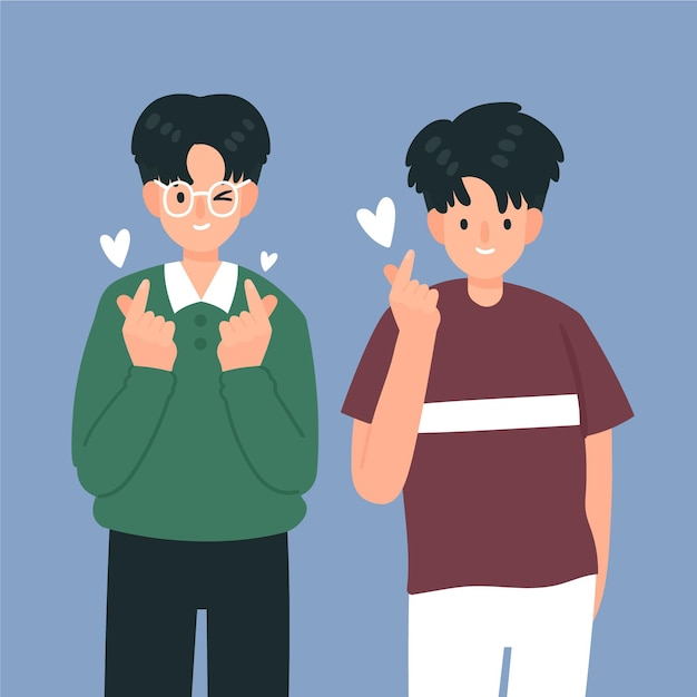 Jóvenes coreanos haciendo dedo corazón vector gratuito
