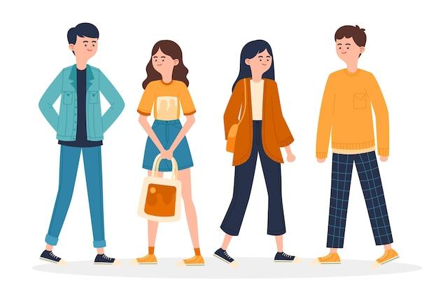 Jóvenes coreanos de moda ilustrados vector gratuito