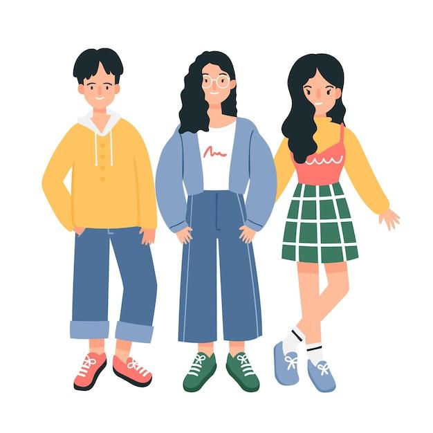 Jóvenes coreanos de moda vector gratuito