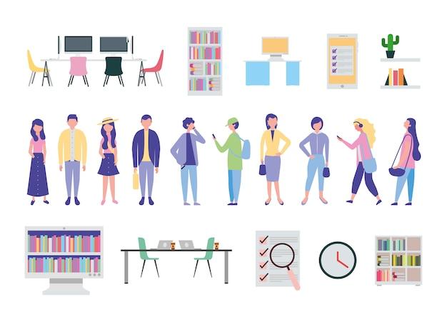 Jóvenes e iconos de equipos de oficina vector gratuito