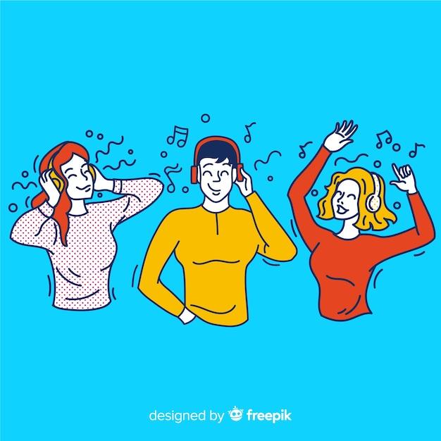 Jóvenes escuchando música en estilo de dibujo coreano vector gratuito