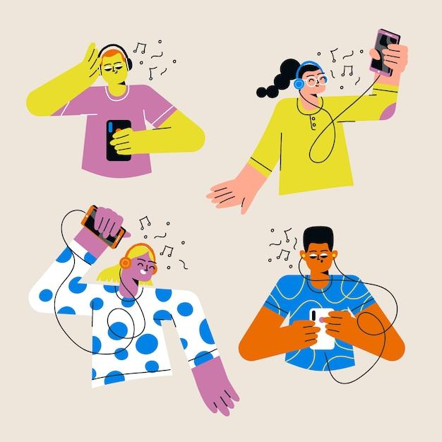 Jóvenes escuchando musica vector gratuito