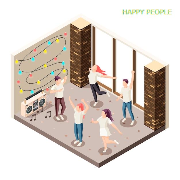 Jóvenes felices en ropa casual bailando bajo techo con luces de discoteca y altavoces composición isométrica vector gratuito