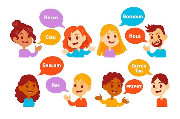 Jóvenes hablando en diferentes idiomas. vector gratuito