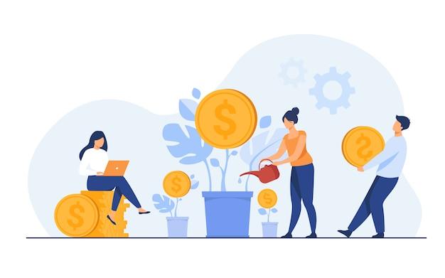 Jóvenes inversores que trabajan para obtener ganancias, dividendos o ingresos vector gratuito