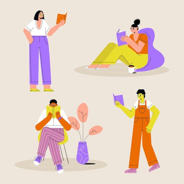 Jóvenes leyendo conjunto de ilustración vector gratuito