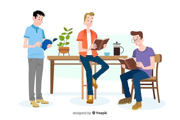 Jóvenes leyendo vector gratuito