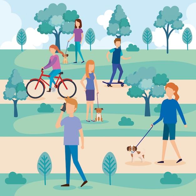 Jóvenes con perros en el parque vector gratuito