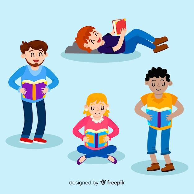 Jóvenes que leen diseño de ilustración vector gratuito