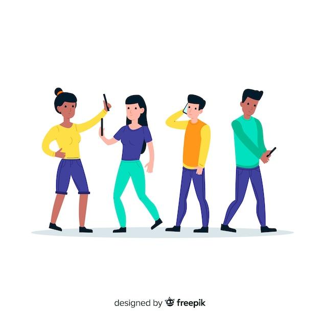 Jóvenes que usan el concepto de ilustración de teléfonos vector gratuito