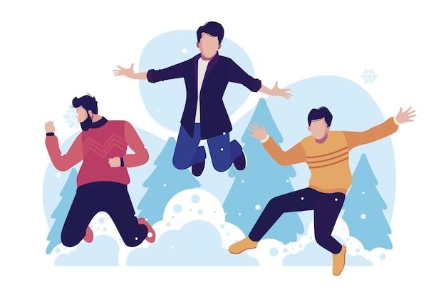 Jóvenes con ropa de invierno saltando con árboles en segundo plano. vector gratuito