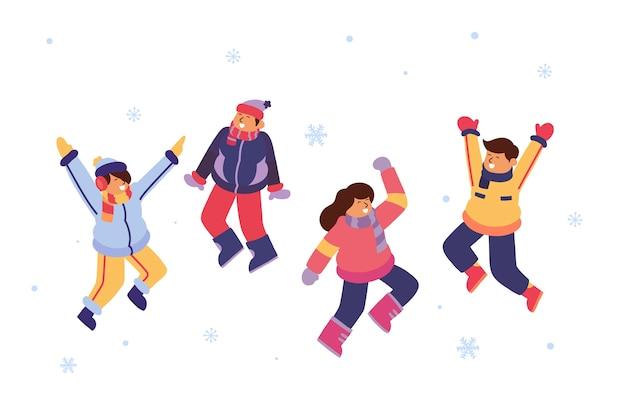 Jóvenes con ropa de invierno saltando vector gratuito
