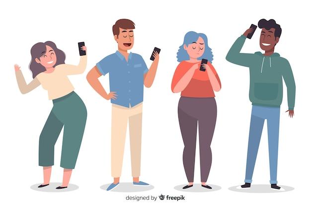 Jóvenes con smartphones vector gratuito