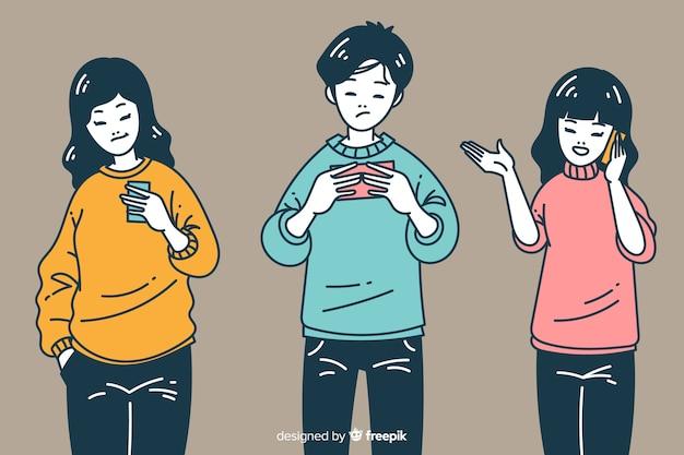 Jóvenes con teléfonos inteligentes en estilo de dibujo coreano vector gratuito