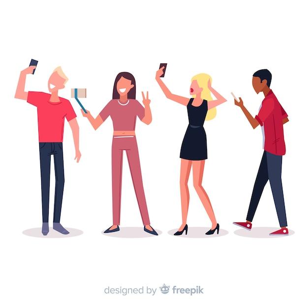 Jóvenes con teléfonos inteligentes ilustrados vector gratuito