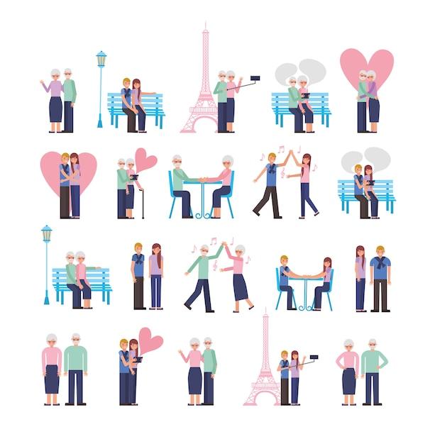 Jóvenes y viejos padres amantes pareja personajes vector gratuito