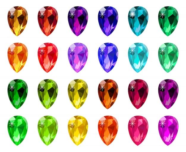 Joya de cristales de diamante. gemstone diamond gem, juego de joyas de piedra de lujo, conjunto de símbolos de pedrería preciosa. icono de joyas de piedras preciosas, piedras de cristal, joyas y zafiros para la ilustración del juego Vector Premium