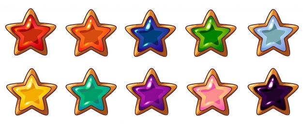 Joya de estrella colorida con marco dorado para interfaz de juego móvil Vector Premium