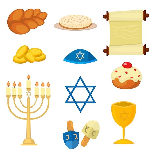 Judaísmo iglesia tradicional símbolos vector illustration Vector Premium