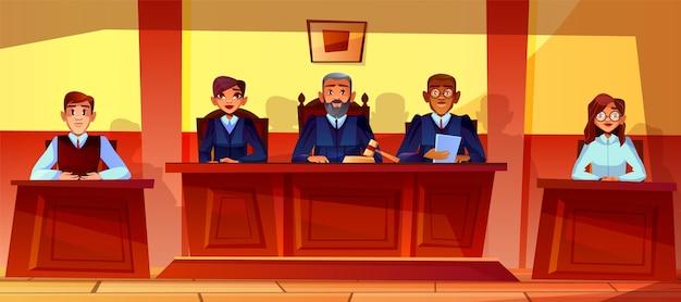 Los jueces en la corte escuchan el ejemplo del fondo del interior de la sala de tribunal. vector gratuito