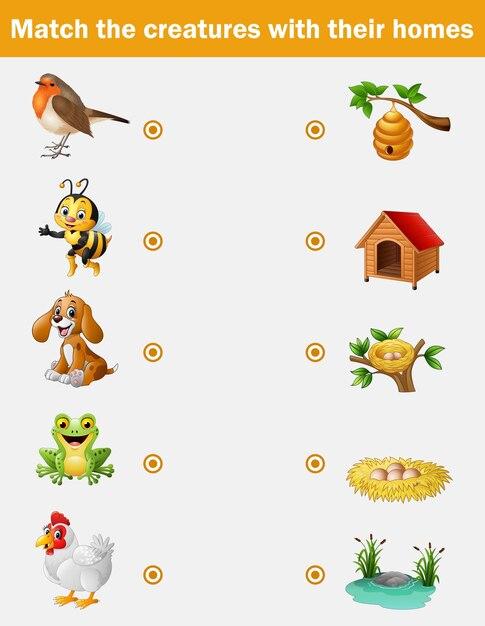 Juego a juego para niños, animales con sus casas | Descargar ...