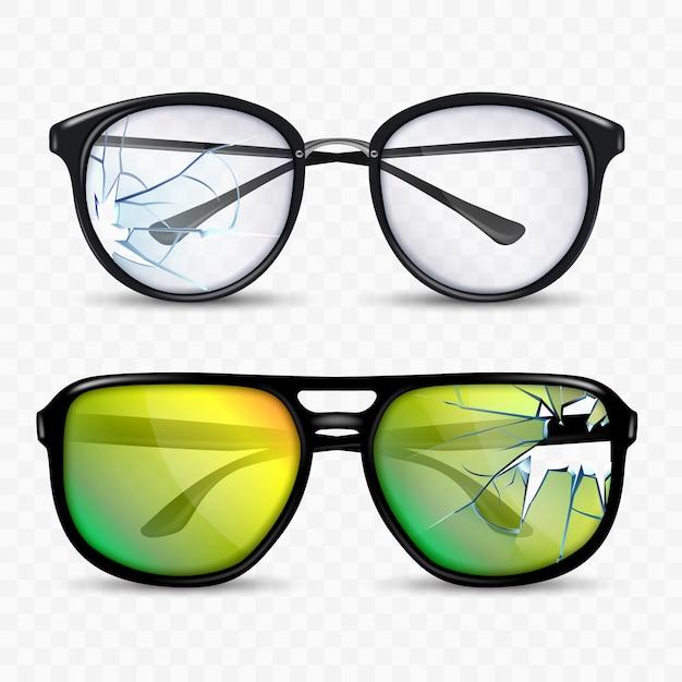 Juego de accesorios para gafas y gafas rotas Vector Premium