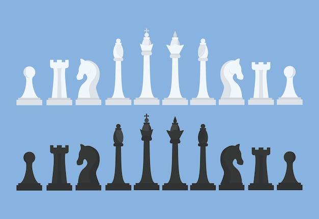 Juego de ajedrez. rey, reina, alfil, caballo, torre y peón. figuras de ajedrez en blanco y negro. ilustración Vector Premium