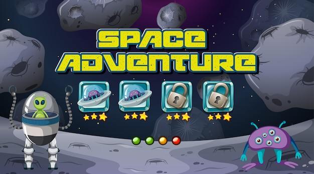 Juego de aventura espacial vector gratuito