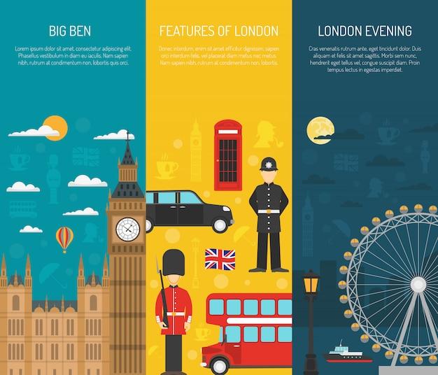Juego de banners verticales london sightseeing 3 vector gratuito