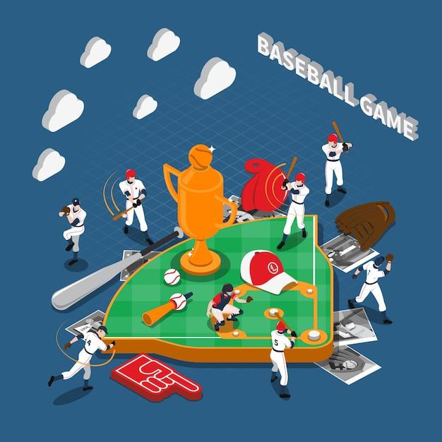 Juego de béisbol de composición isométrica vector gratuito