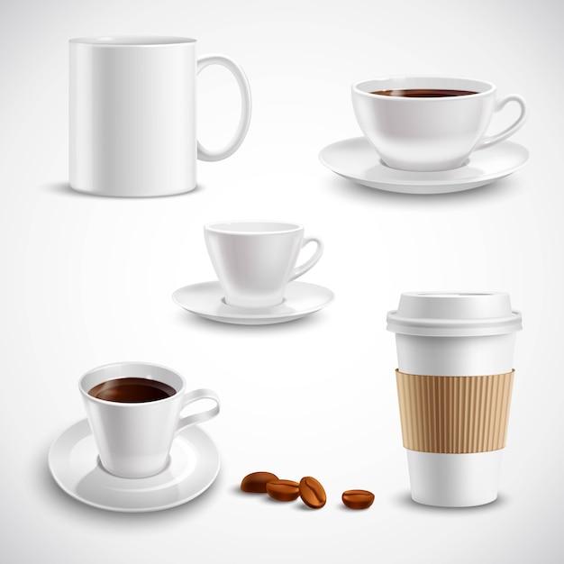 Juego de café realista vector gratuito