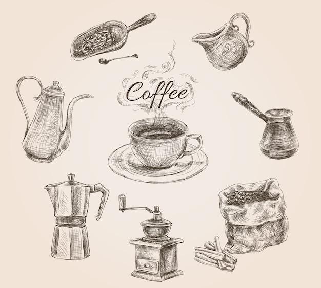 Juego de café retro dibujado a mano vector gratuito