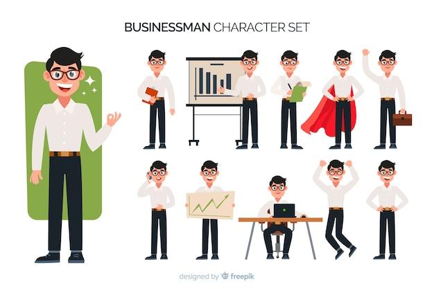 Juego de caracteres de buen hombre de negocios vector gratuito