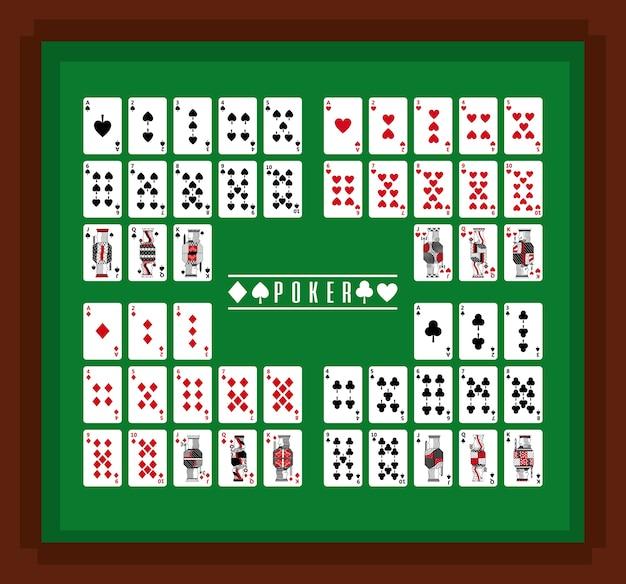 Juego De Cartas De Poker Casino En Mesa Descargar Vectores Premium