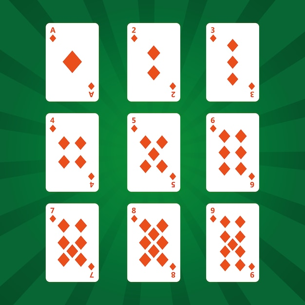 Juego De Cartas De Poker Diamantes Sobre Fondo Verde Descargar