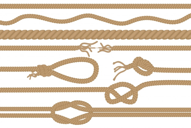 Juego de cepillos de cuerda con diferentes nudos. Vector Premium