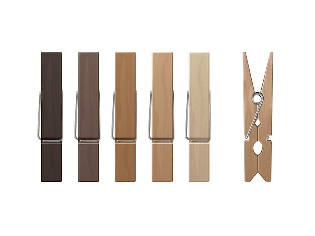 Juego de clavijas de madera pinzas de colores sobre fondo Vector Premium