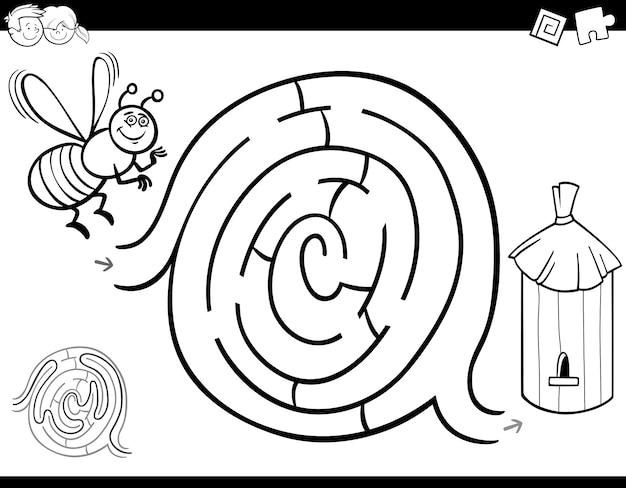 Juego de colorear laberinto con abeja y colmena | Descargar Vectores ...