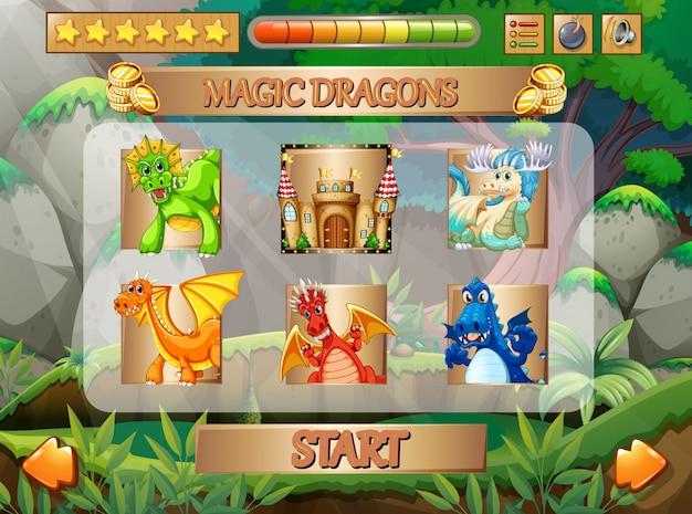 Juego de computadora con personajes de dragon. vector gratuito