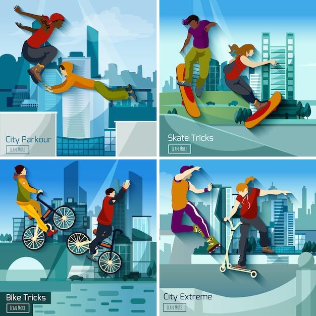 Juego de concepto extreme city sports 2x2 vector gratuito