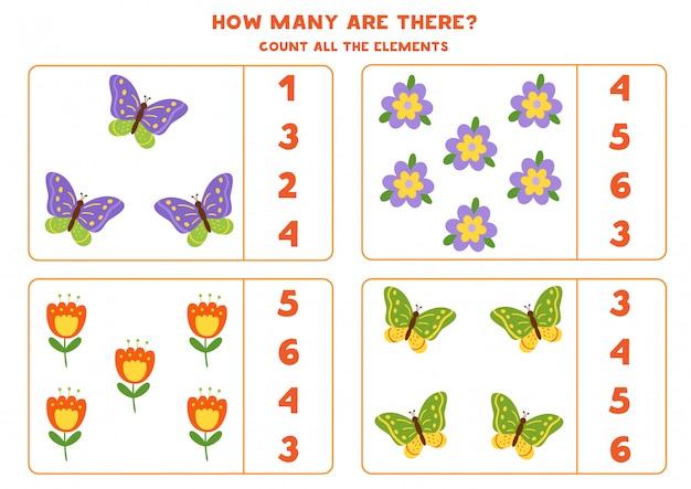 Juego de contar para niños. cuenta el número de mariposas y flores. Vector Premium