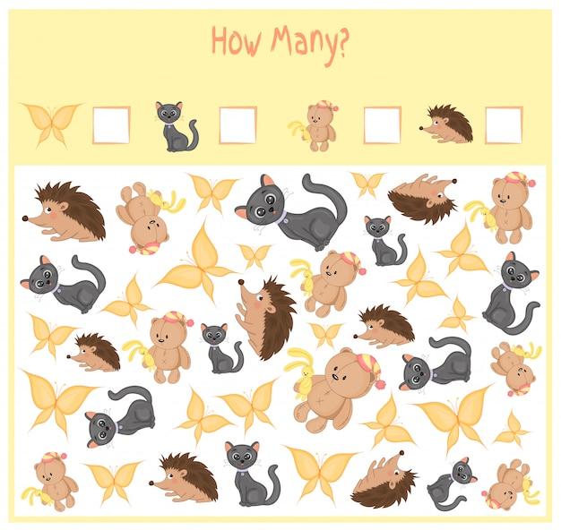 Juego de contar para niños en edad preescolar. cuenta cuántos elementos y escribe el resultado. Vector Premium