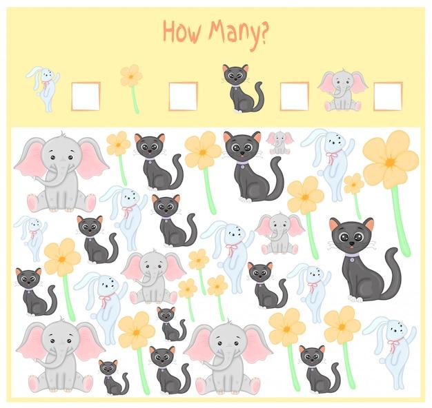 Juego de contar para niños en edad preescolar. un juego educativo matemático. cuenta cuántos elementos y escribe el resultado. animales salvajes y domésticos. naturaleza. Vector Premium