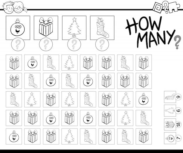 Juego De Contar Con Objetos De Navidad Para Colorear Descargar