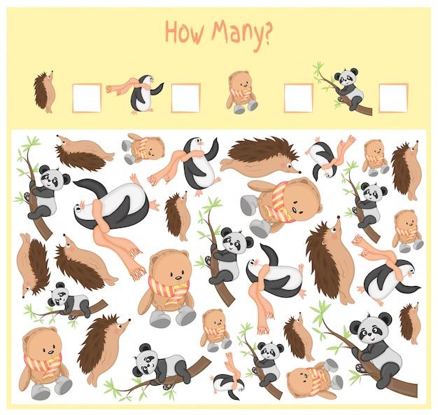 Juego de conteo para niños en edad preescolar. un juego educativo matemático. cuente cuántos elementos y escriba el resultado. animales salvajes y domésticos. naturaleza. Vector Premium
