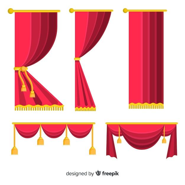 Juego de cortina roja plana vector gratuito