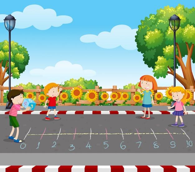 Juego de dados para niños en el parque | Vector Premium