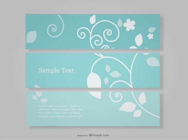 juego de banners azules con diseo floral vector gratis