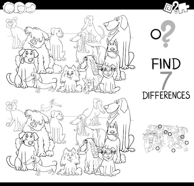 Juego de diferencias con grupo de perros para colorear | Descargar ...