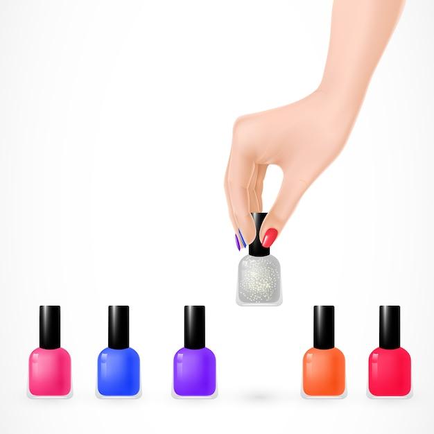 Juego de esmalte de uñas y mano de mujer | Descargar Vectores gratis